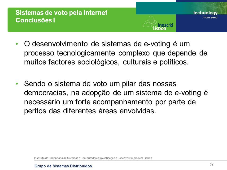 Instituto de Engenharia de Sistemas e Computadores Investigação e Desenvolvimento em Lisboa technology from seed Grupo de Sistemas Distribuídos 32 Sis