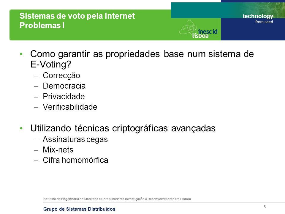 Instituto de Engenharia de Sistemas e Computadores Investigação e Desenvolvimento em Lisboa technology from seed Grupo de Sistemas Distribuídos 26 Voto pela Internet – Suiça (Genebra) Protocolo I Passos do protocolo: 1.O votante entra no site oficial e identifica- se.