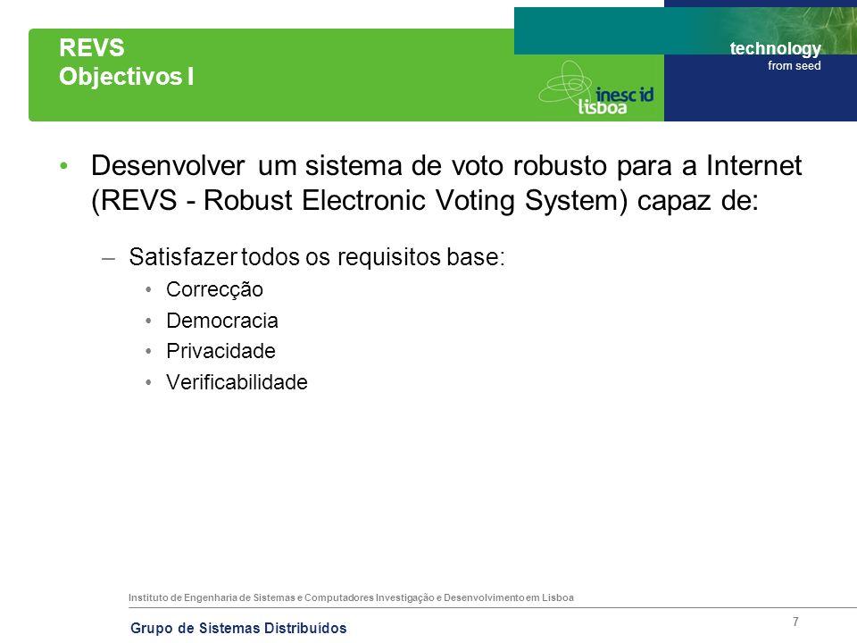 Instituto de Engenharia de Sistemas e Computadores Investigação e Desenvolvimento em Lisboa technology from seed Grupo de Sistemas Distribuídos 7 REVS