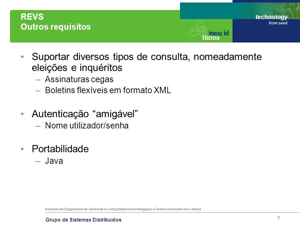 Instituto de Engenharia de Sistemas e Computadores Investigação e Desenvolvimento em Lisboa technology from seed Grupo de Sistemas Distribuídos 9 REVS
