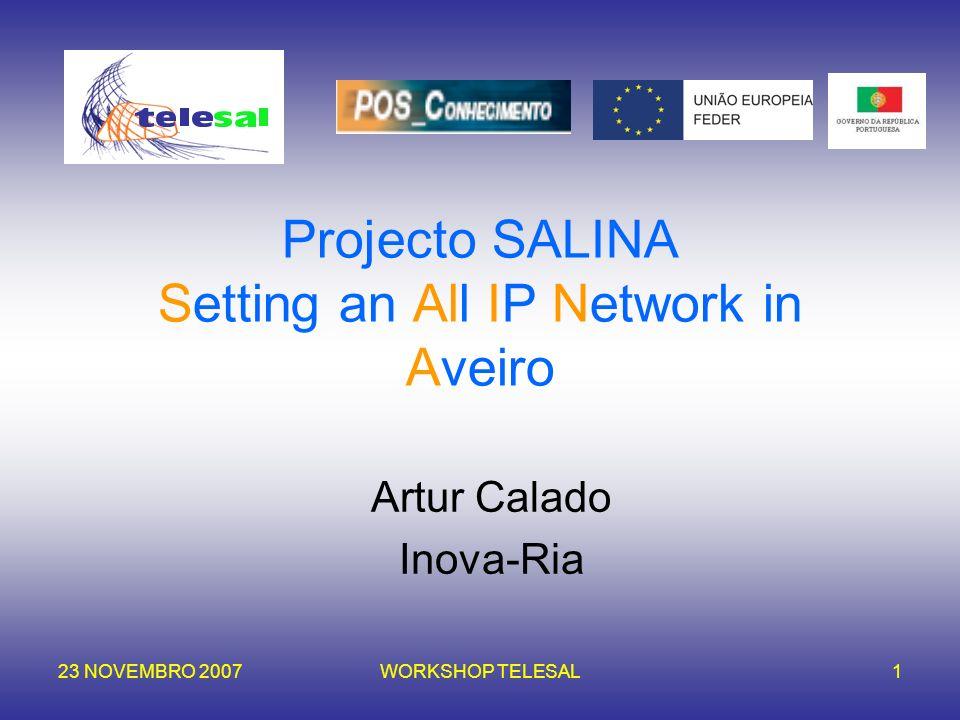 23 NOVEMBRO 2007WORKSHOP TELESAL1 Projecto SALINA Setting an All IP Network in Aveiro Artur Calado Inova-Ria