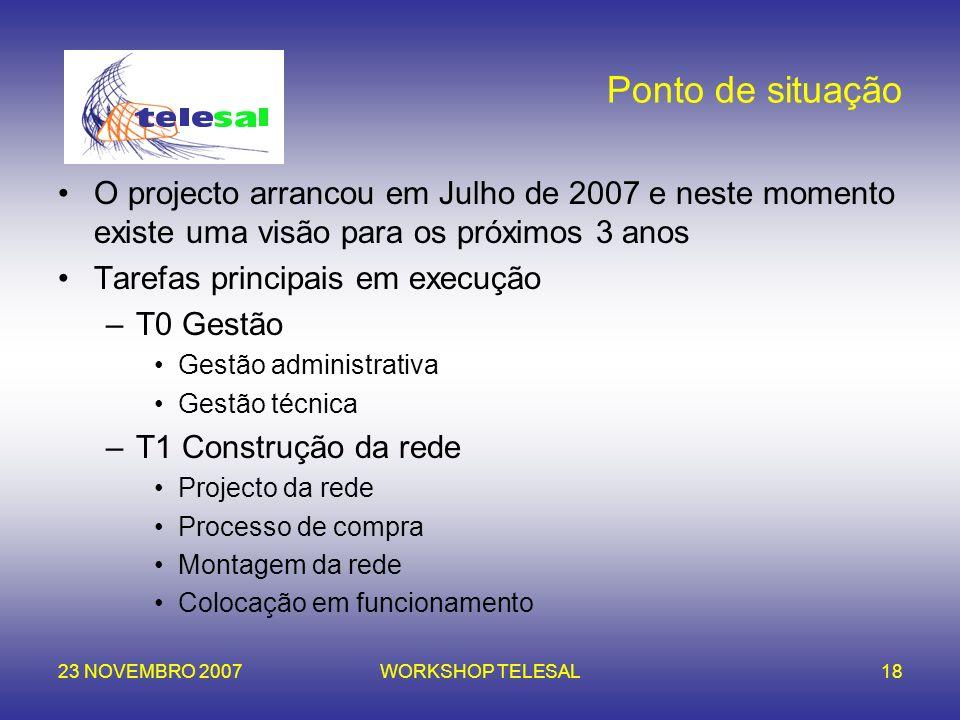 23 NOVEMBRO 2007WORKSHOP TELESAL18 Ponto de situação O projecto arrancou em Julho de 2007 e neste momento existe uma visão para os próximos 3 anos Tar