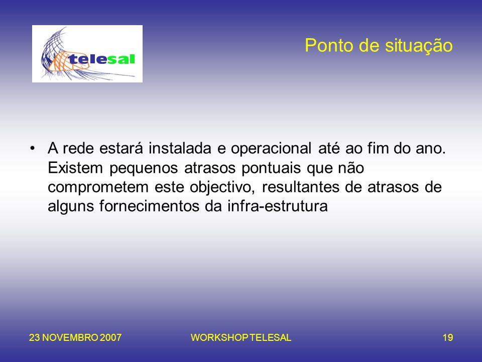 23 NOVEMBRO 2007WORKSHOP TELESAL19 Ponto de situação A rede estará instalada e operacional até ao fim do ano. Existem pequenos atrasos pontuais que nã