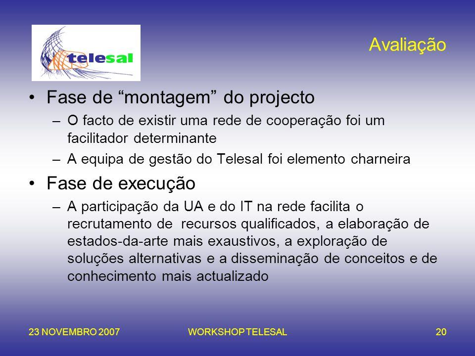 23 NOVEMBRO 2007WORKSHOP TELESAL20 Avaliação Fase de montagem do projecto –O facto de existir uma rede de cooperação foi um facilitador determinante –