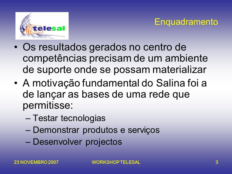 23 NOVEMBRO 2007WORKSHOP TELESAL3 Enquadramento Os resultados gerados no centro de competências precisam de um ambiente de suporte onde se possam mate