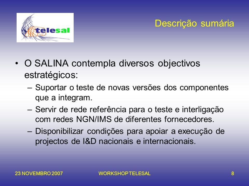 23 NOVEMBRO 2007WORKSHOP TELESAL8 Descrição sumária O SALINA contempla diversos objectivos estratégicos: –Suportar o teste de novas versões dos compon
