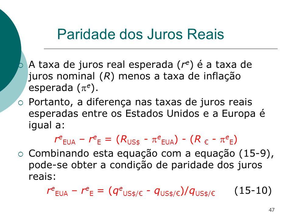 47 Paridade dos Juros Reais A taxa de juros real esperada (r e ) é a taxa de juros nominal (R) menos a taxa de inflação esperada ( e ). Portanto, a di