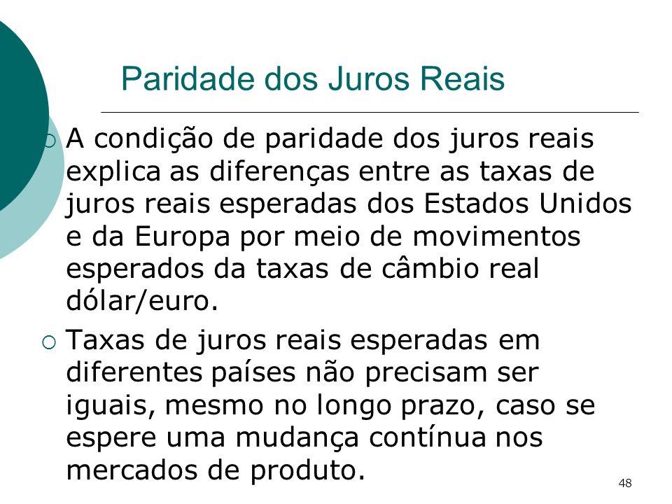 48 Paridade dos Juros Reais A condição de paridade dos juros reais explica as diferenças entre as taxas de juros reais esperadas dos Estados Unidos e