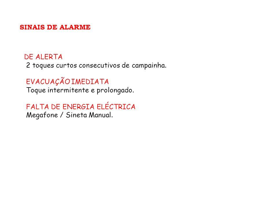 SINAIS DE ALARME DE ALERTA 2 toques curtos consecutivos de campainha. EVACUAÇÃO IMEDIATA Toque intermitente e prolongado. FALTA DE ENERGIA ELÉCTRICA M