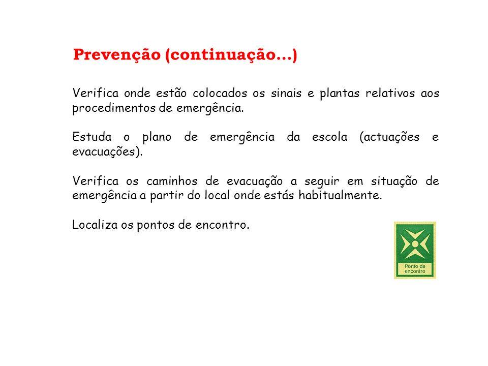 Prevenção (continuação…) Verifica onde estão colocados os sinais e plantas relativos aos procedimentos de emergência. Estuda o plano de emergência da