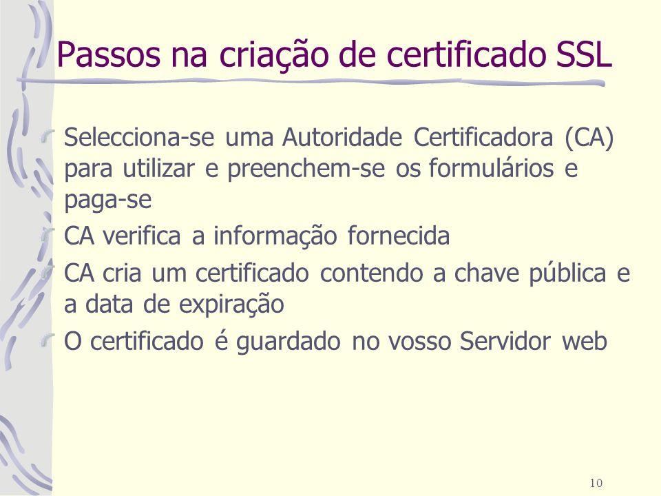 10 Passos na criação de certificado SSL Selecciona-se uma Autoridade Certificadora (CA) para utilizar e preenchem-se os formulários e paga-se CA verif
