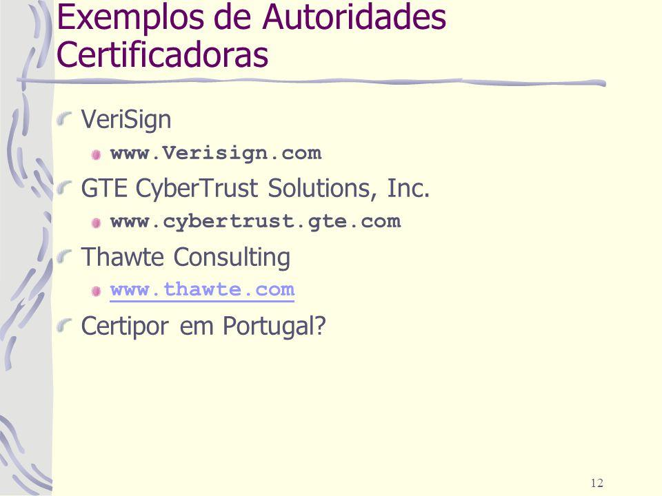 12 Exemplos de Autoridades Certificadoras VeriSign www.Verisign.com GTE CyberTrust Solutions, Inc. www.cybertrust.gte.com Thawte Consulting www.thawte
