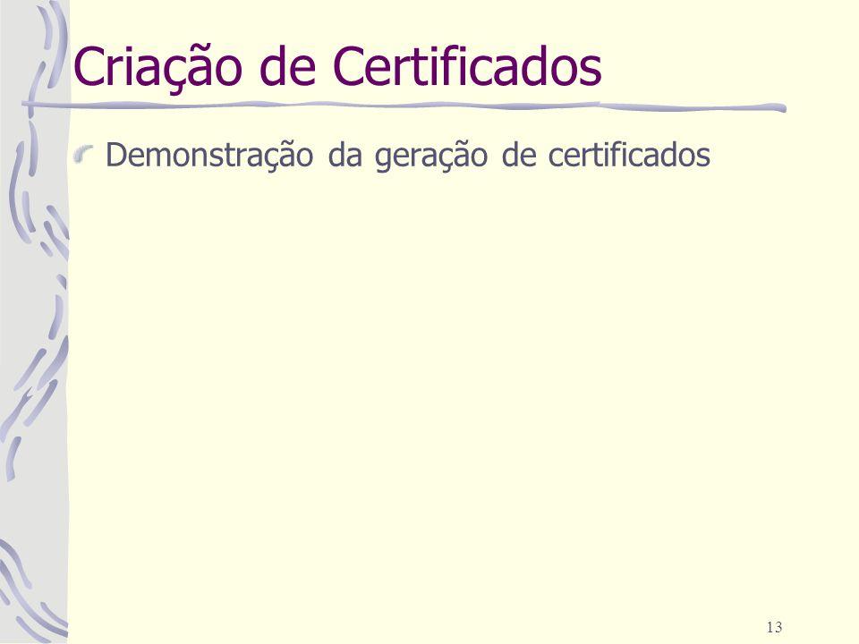 13 Criação de Certificados Demonstração da geração de certificados