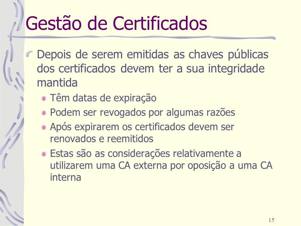 15 Gestão de Certificados Depois de serem emitidas as chaves públicas dos certificados devem ter a sua integridade mantida Têm datas de expiração Pode