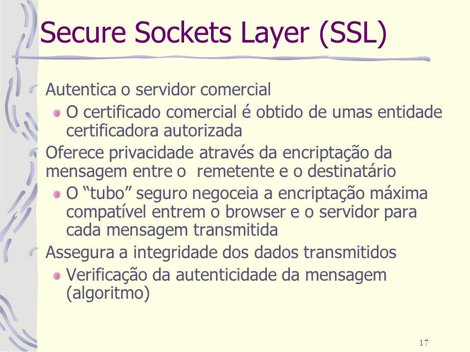 17 Secure Sockets Layer (SSL) Autentica o servidor comercial O certificado comercial é obtido de umas entidade certificadora autorizada Oferece privac