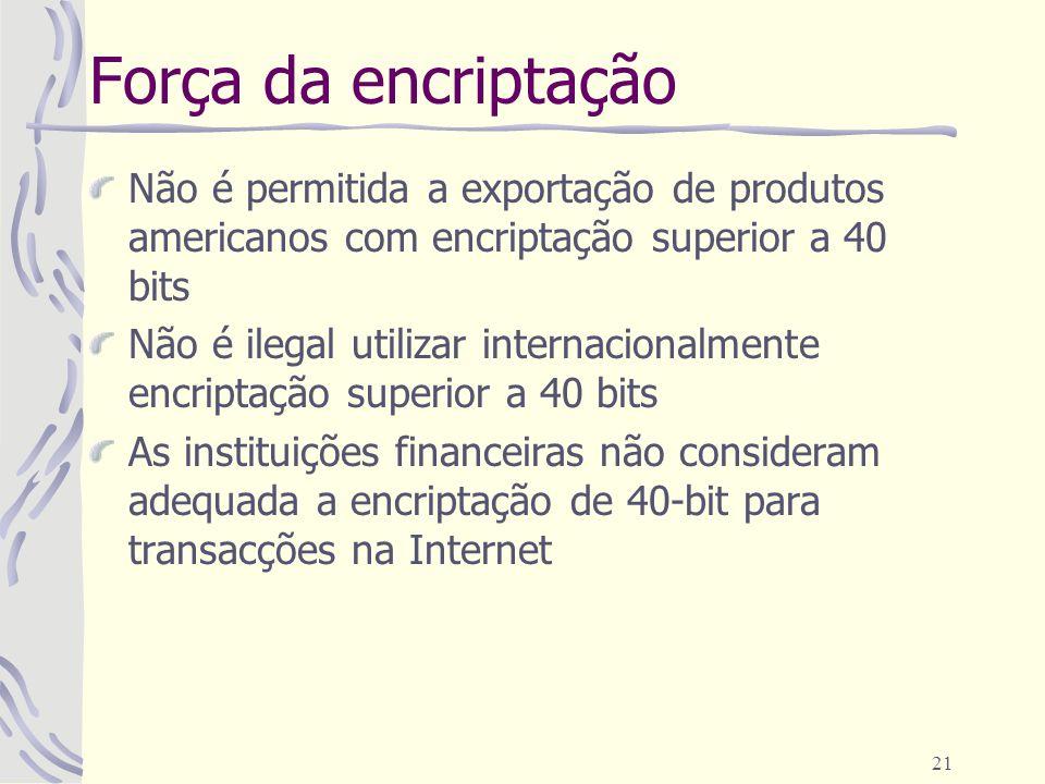 21 Força da encriptação Não é permitida a exportação de produtos americanos com encriptação superior a 40 bits Não é ilegal utilizar internacionalment
