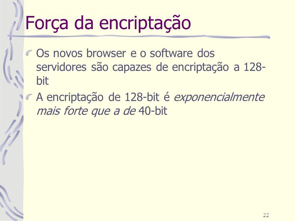 22 Força da encriptação Os novos browser e o software dos servidores são capazes de encriptação a 128- bit A encriptação de 128-bit é exponencialmente