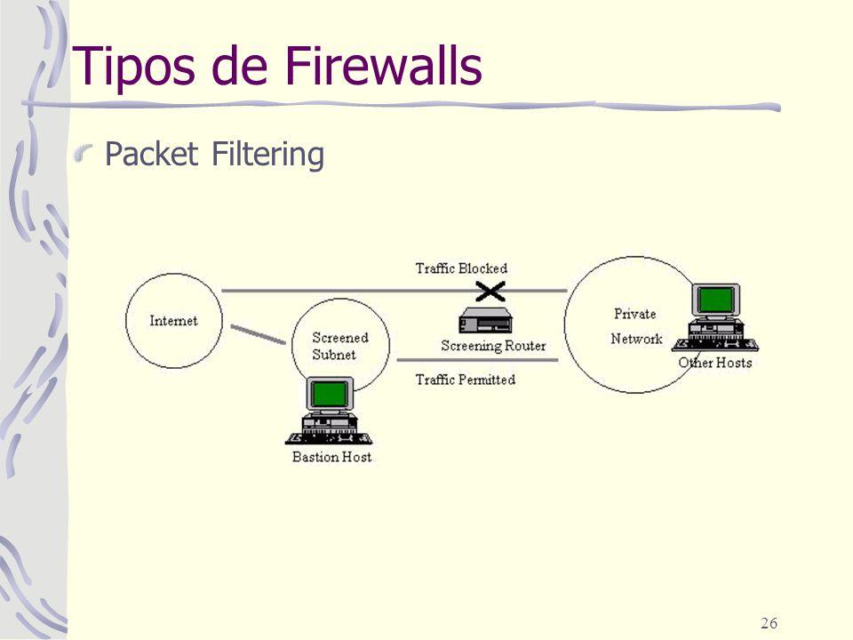 26 Tipos de Firewalls Packet Filtering