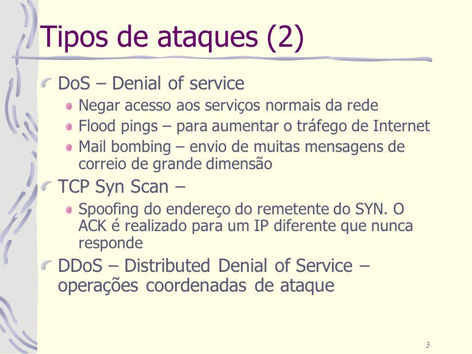 3 Tipos de ataques (2) DoS – Denial of service Negar acesso aos serviços normais da rede Flood pings – para aumentar o tráfego de Internet Mail bombin