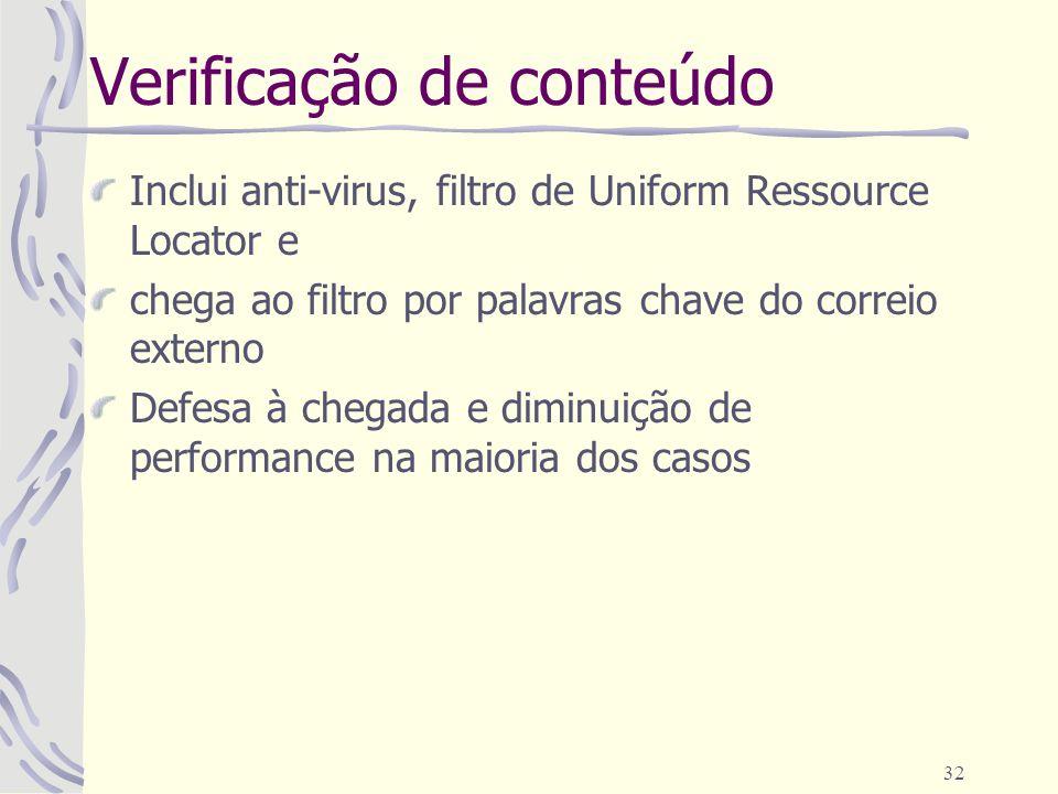 32 Verificação de conteúdo Inclui anti-virus, filtro de Uniform Ressource Locator e chega ao filtro por palavras chave do correio externo Defesa à che