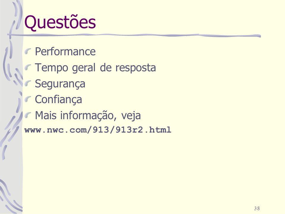 38 Questões Performance Tempo geral de resposta Segurança Confiança Mais informação, veja www.nwc.com/913/913r2.html