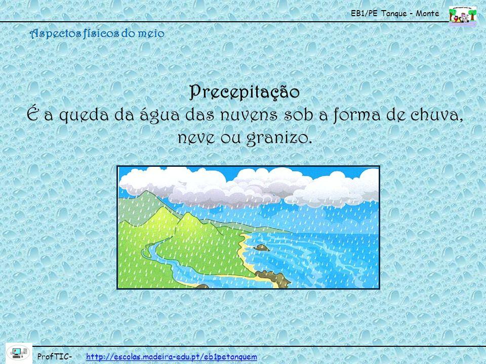 EB1/PE Tanque - Monte ProfTIC- http://escolas.madeira-edu.pt/eb1petanquemhttp://escolas.madeira-edu.pt/eb1petanquem Precepitação É a queda da água das