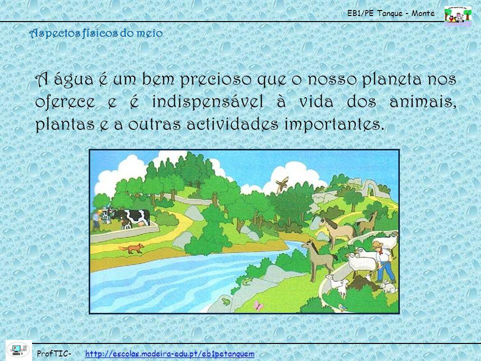 EB1/PE Tanque - Monte ProfTIC- http://escolas.madeira-edu.pt/eb1petanquemhttp://escolas.madeira-edu.pt/eb1petanquem A água é um bem precioso que o nos