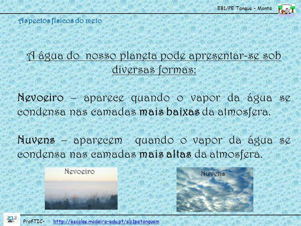 EB1/PE Tanque - Monte ProfTIC- http://escolas.madeira-edu.pt/eb1petanquemhttp://escolas.madeira-edu.pt/eb1petanquem A água do nosso planeta pode apres