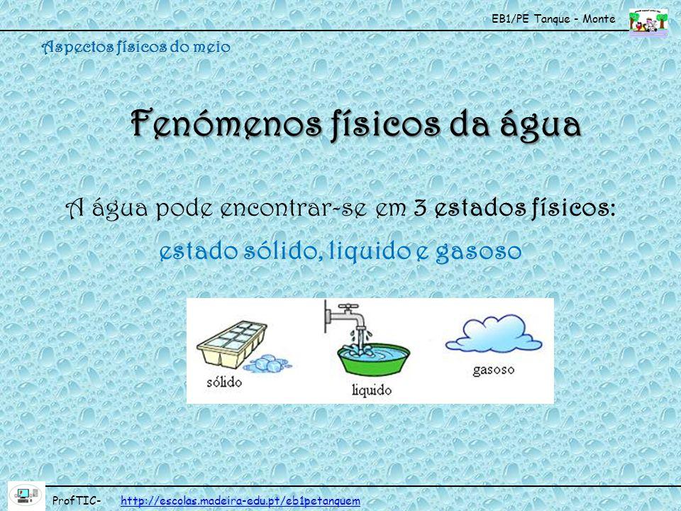 EB1/PE Tanque - Monte ProfTIC- http://escolas.madeira-edu.pt/eb1petanquemhttp://escolas.madeira-edu.pt/eb1petanquem Orvalho Forma-se durante a noite, quando a temperatura desce e o vapor de água, em contacto com a superfície da terra, condensa-se formando pequenas gotas de água.