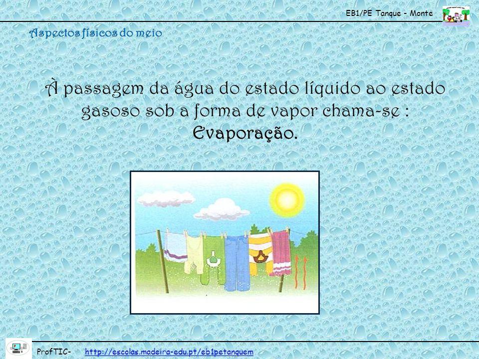 EB1/PE Tanque - Monte ProfTIC- http://escolas.madeira-edu.pt/eb1petanquemhttp://escolas.madeira-edu.pt/eb1petanquem Condensação É a passagem da água do estado gasoso (vapor da água) ao estado líquido, quando o vapor da água arrefece.