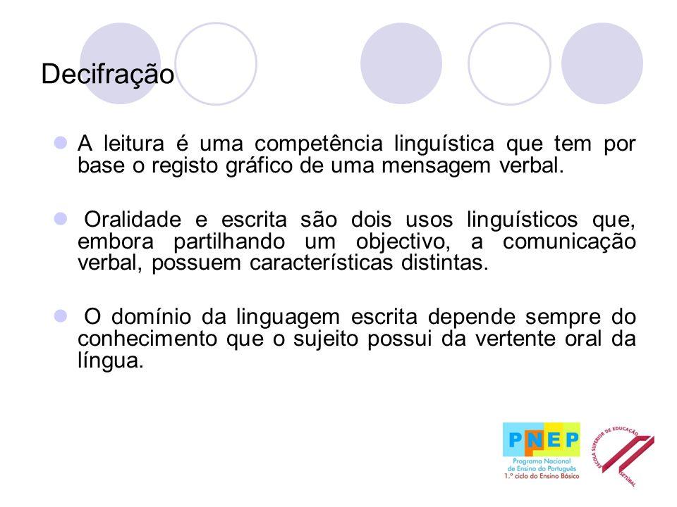 Decifração A leitura é uma competência linguística que tem por base o registo gráfico de uma mensagem verbal. Oralidade e escrita são dois usos linguí