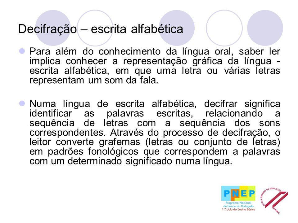 Decifração – escrita alfabética Para além do conhecimento da língua oral, saber ler implica conhecer a representação gráfica da língua - escrita alfab