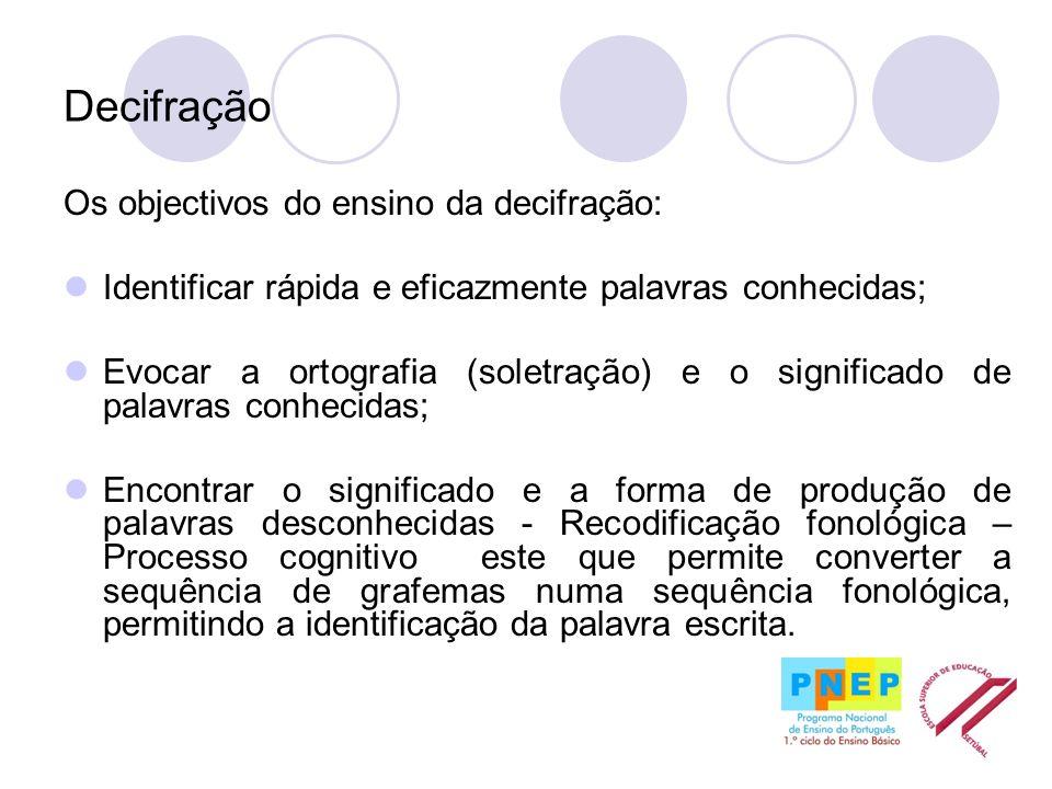 Decifração Os objectivos do ensino da decifração: Identificar rápida e eficazmente palavras conhecidas; Evocar a ortografia (soletração) e o significa