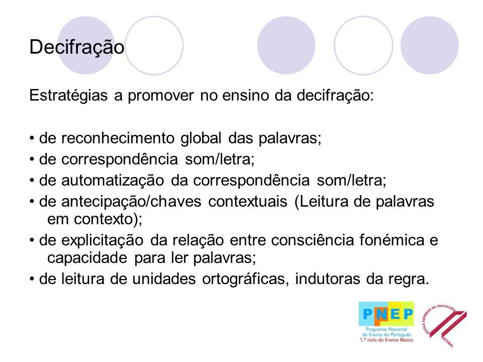 Decifração Estratégias a promover no ensino da decifração: de reconhecimento global das palavras; de correspondência som/letra; de automatização da co