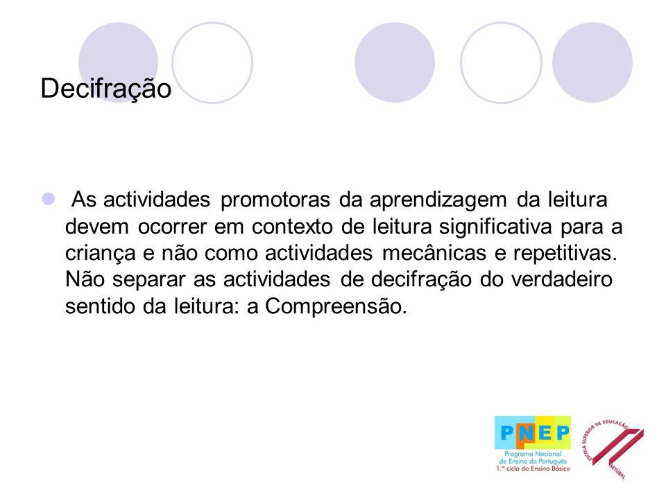 Decifração As actividades promotoras da aprendizagem da leitura devem ocorrer em contexto de leitura significativa para a criança e não como actividad