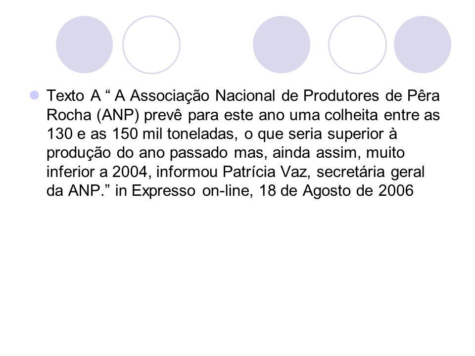 Texto A A Associação Nacional de Produtores de Pêra Rocha (ANP) prevê para este ano uma colheita entre as 130 e as 150 mil toneladas, o que seria supe