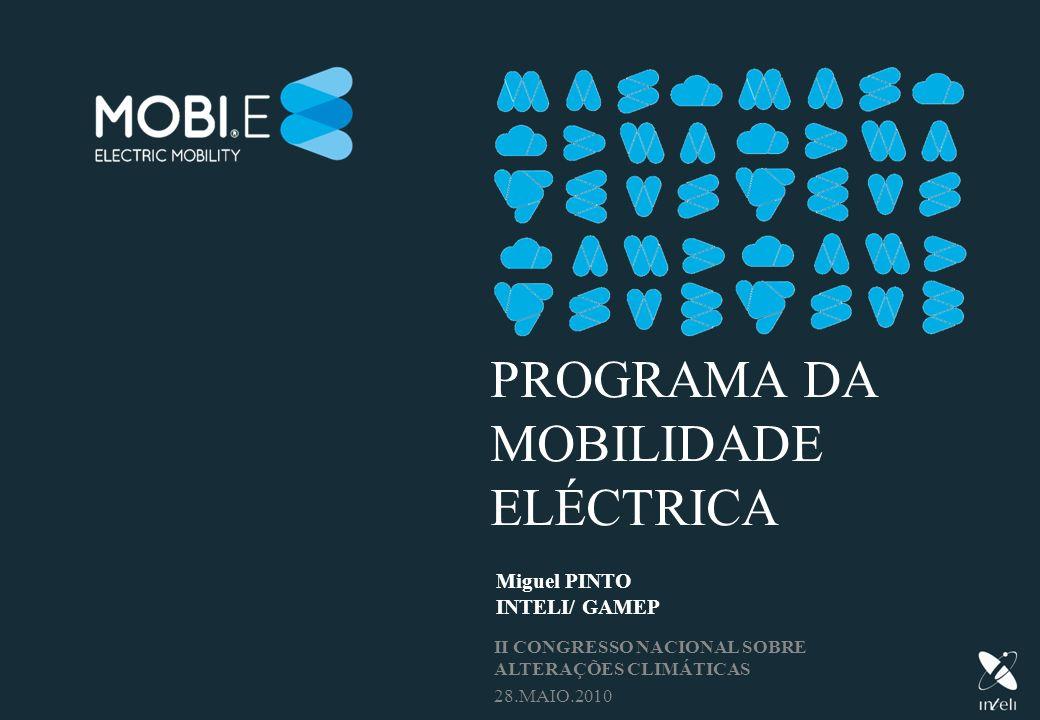 PROGRAMA DA MOBILIDADE ELÉCTRICA Miguel PINTO INTELI/ GAMEP II CONGRESSO NACIONAL SOBRE ALTERAÇÕES CLIMÁTICAS 28.MAIO.2010
