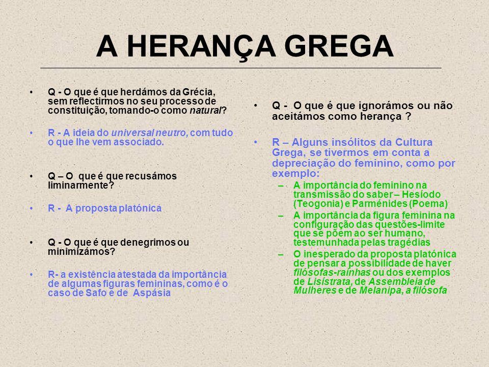 A HERANÇA GREGA Q - O que é que herdámos da Grécia, sem reflectirmos no seu processo de constituição, tomando-o como natural? R - A ideia do universal