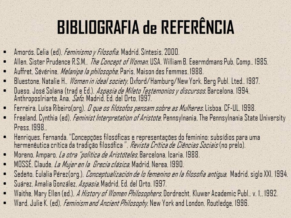 BIBLIOGRAFIA de REFERÊNCIA Amorós, Celia (ed), Feminismo y Filosofia, Madrid, Síntesis, 2000. Allen, Sister Prudence R.S.M., The Concept of Woman, USA