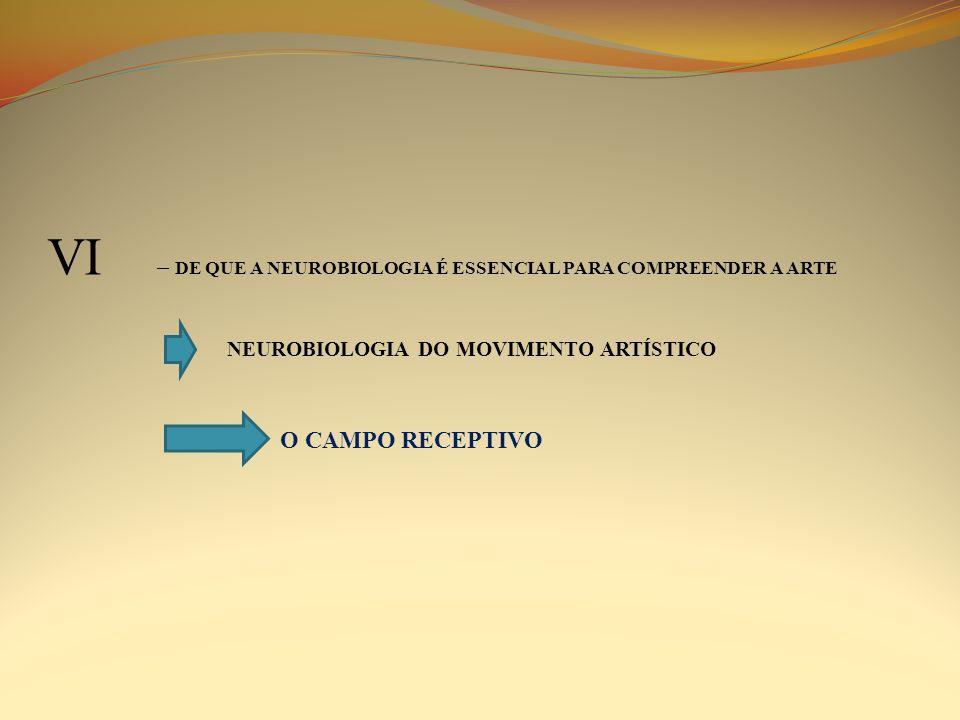 VI – DE QUE A NEUROBIOLOGIA É ESSENCIAL PARA COMPREENDER A ARTE NEUROBIOLOGIA DO MOVIMENTO ARTÍSTICO O CAMPO RECEPTIVO