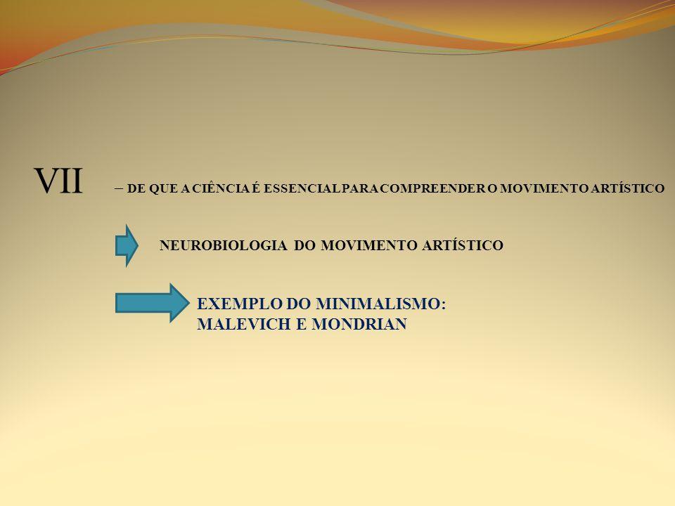 VII – DE QUE A CIÊNCIA É ESSENCIAL PARA COMPREENDER O MOVIMENTO ARTÍSTICO NEUROBIOLOGIA DO MOVIMENTO ARTÍSTICO EXEMPLO DO MINIMALISMO: MALEVICH E MOND