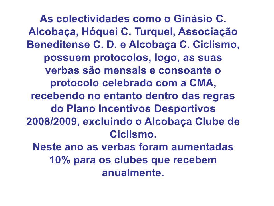 As colectividades como o Ginásio C. Alcobaça, Hóquei C. Turquel, Associação Beneditense C. D. e Alcobaça C. Ciclismo, possuem protocolos, logo, as sua