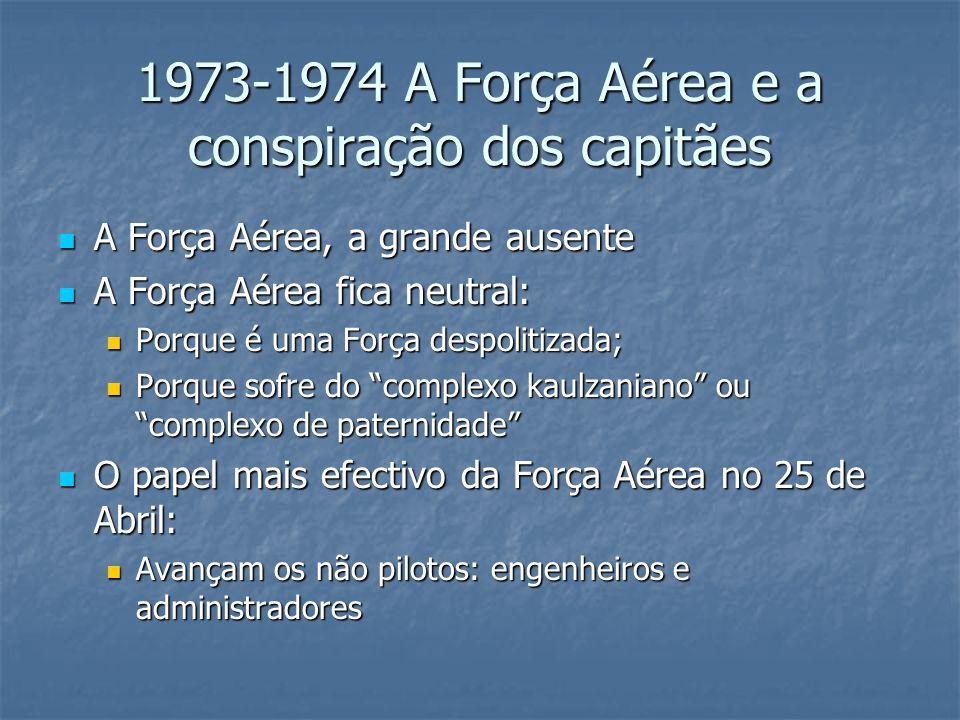 1973-1974 A Força Aérea e a conspiração dos capitães A Força Aérea, a grande ausente A Força Aérea, a grande ausente A Força Aérea fica neutral: A Força Aérea fica neutral: Porque é uma Força despolitizada; Porque é uma Força despolitizada; Porque sofre do complexo kaulzaniano ou complexo de paternidade Porque sofre do complexo kaulzaniano ou complexo de paternidade O papel mais efectivo da Força Aérea no 25 de Abril: O papel mais efectivo da Força Aérea no 25 de Abril: Avançam os não pilotos: engenheiros e administradores Avançam os não pilotos: engenheiros e administradores