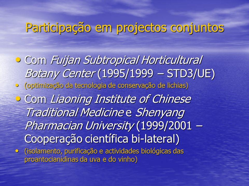 Participação em projectos conjuntos Com Fuijan Subtropical Horticultural Botany Center (1995/1999 – STD3/UE) Com Fuijan Subtropical Horticultural Bota