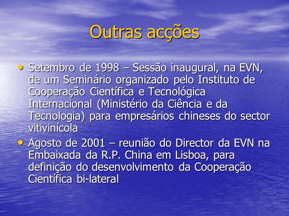 Outras acções Setembro de 1998 – Sessão inaugural, na EVN, de um Seminário organizado pelo Instituto de Cooperação Científica e Tecnológica Internacio