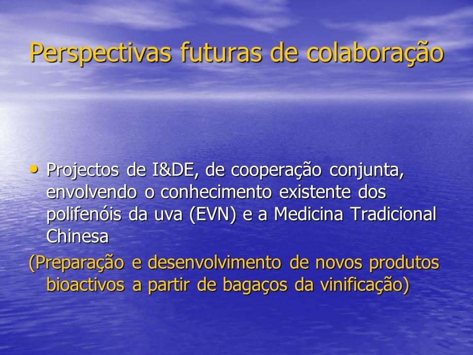 Perspectivas futuras de colaboração Projectos de I&DE, de cooperação conjunta, envolvendo o conhecimento existente dos polifenóis da uva (EVN) e a Med