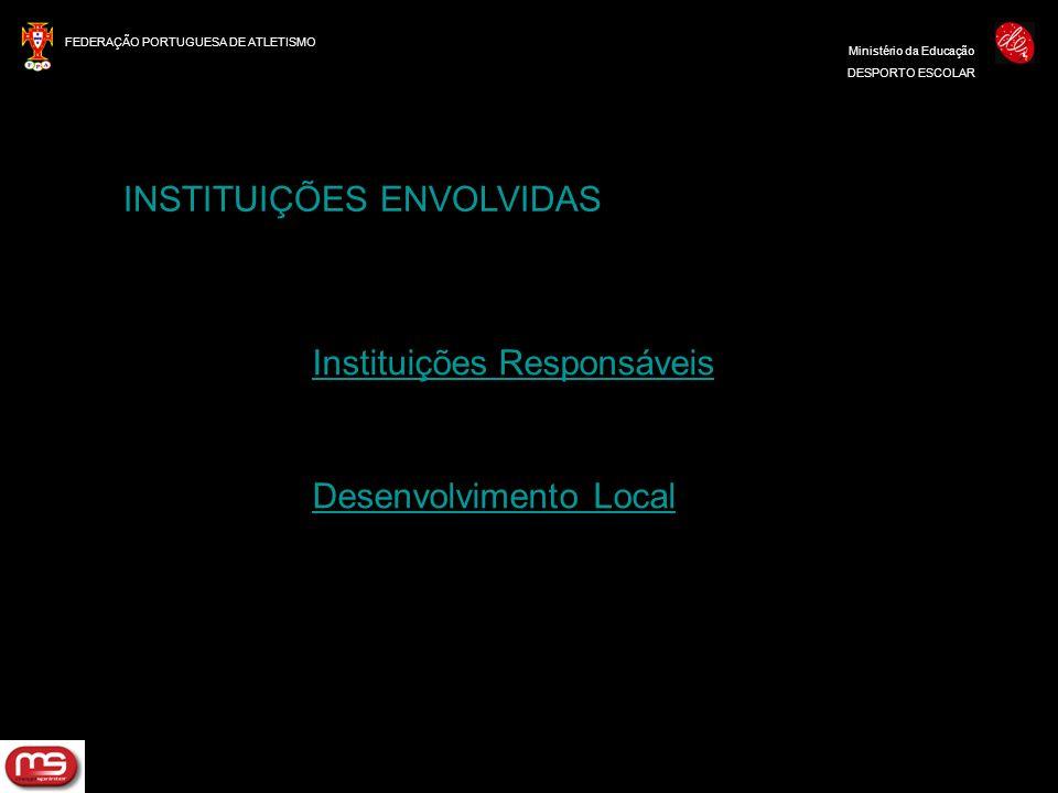 FEDERAÇÃO PORTUGUESA DE ATLETISMO Ministério da Educação DESPORTO ESCOLAR INSTITUIÇÕES ENVOLVIDAS Instituições Responsáveis Desenvolvimento Local
