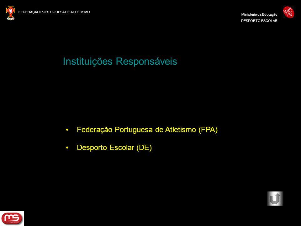 FEDERAÇÃO PORTUGUESA DE ATLETISMO Ministério da Educação DESPORTO ESCOLAR Federação Portuguesa de Atletismo (FPA) Desporto Escolar (DE) Instituições R