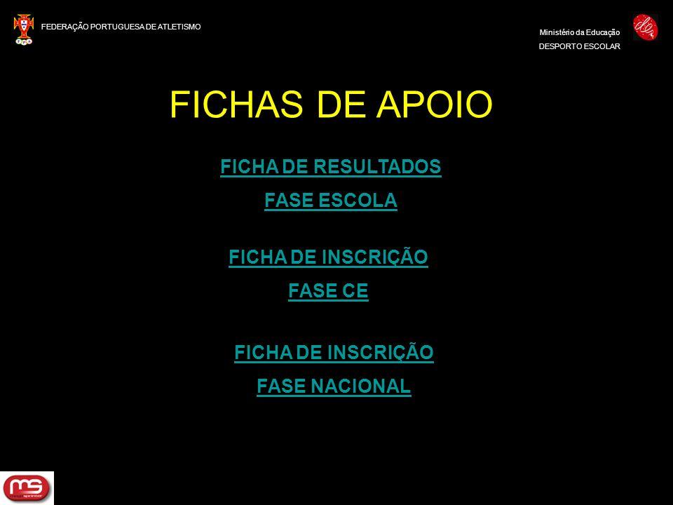 FEDERAÇÃO PORTUGUESA DE ATLETISMO Ministério da Educação DESPORTO ESCOLAR FICHAS DE APOIO FICHA DE INSCRIÇÃO FASE NACIONAL FICHA DE INSCRIÇÃO FASE CE
