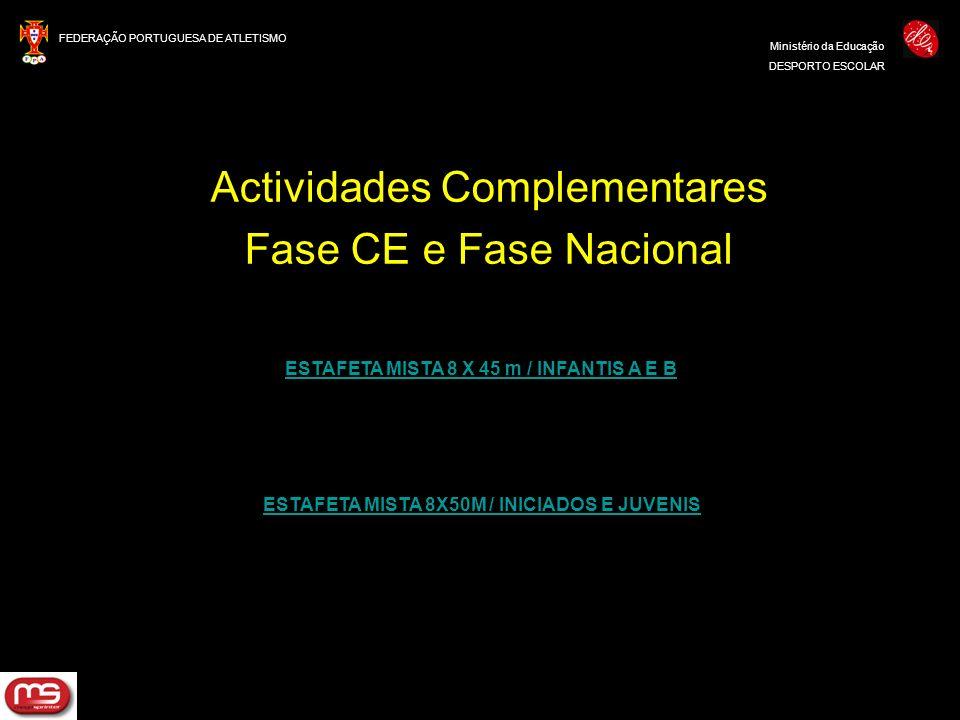 FEDERAÇÃO PORTUGUESA DE ATLETISMO Ministério da Educação DESPORTO ESCOLAR Actividades Complementares Fase CE e Fase Nacional ESTAFETA MISTA 8 X 45 m /